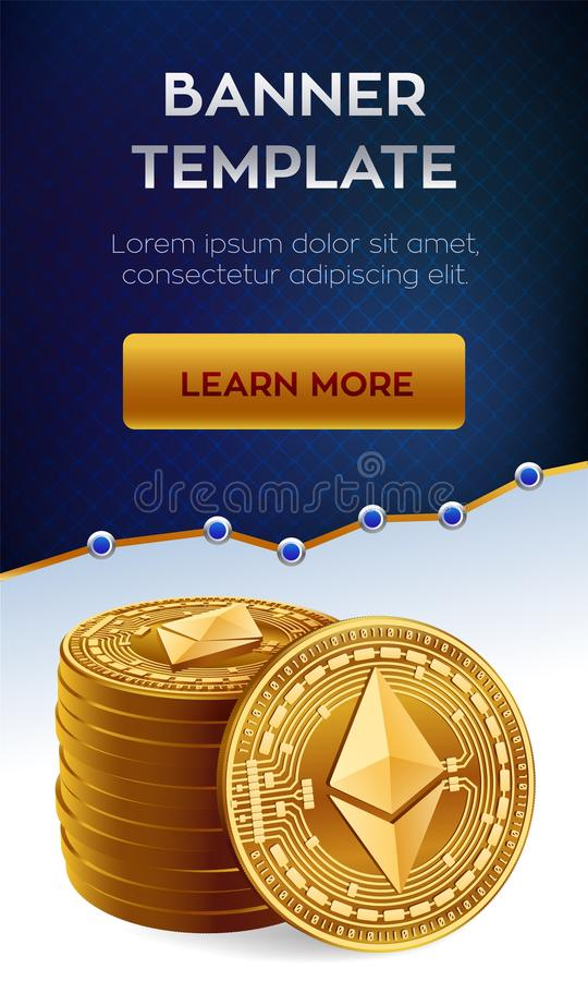 Ethereum Stack Of Golden Coins With Ethereum Symbol Cryptocurrency