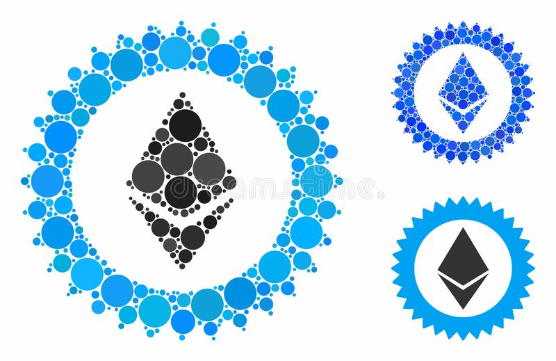 Ethereum stamp seal Composition Icon of Circles. Ethereum stamp seal composition for Ethereum stamp seal icon of circle elements in different sizes and shades royalty free illustration