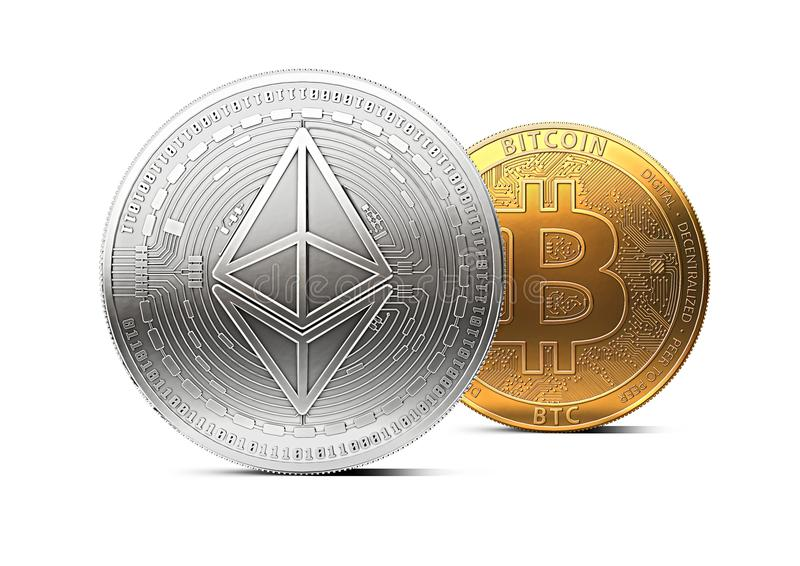 Ethereum stands in front of bitcoin isolated on white background. Domination concept. New virtual money, 3D rendering vector illustration