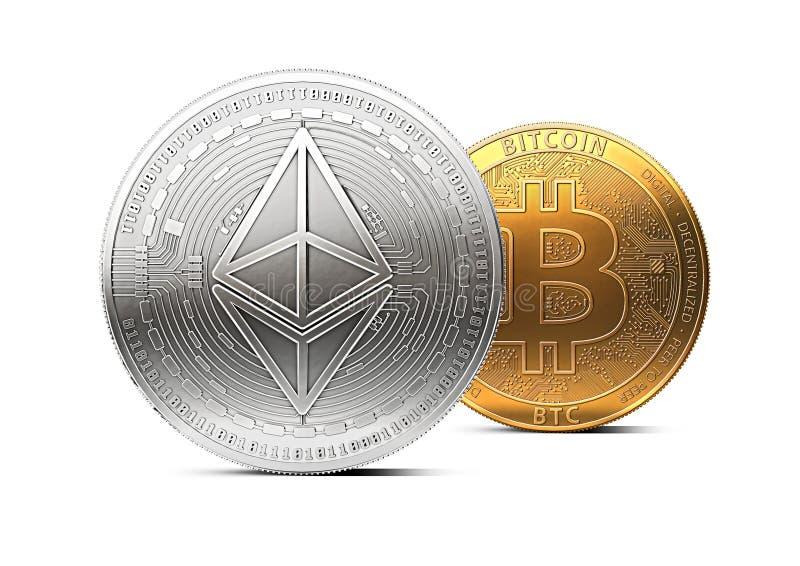 Ethereum stojaki przed bitcoin odizolowywającym na białym tle Dominaci pojęcie ilustracja wektor