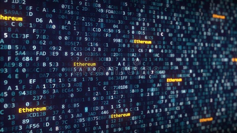 Ethereum subtitula aparecer entre el cambio de símbolos hexadecimales en una pantalla de ordenador representación 3d fotos de archivo libres de regalías