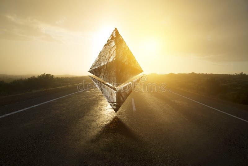 Ethereum symbol på den tomma vägen royaltyfri foto
