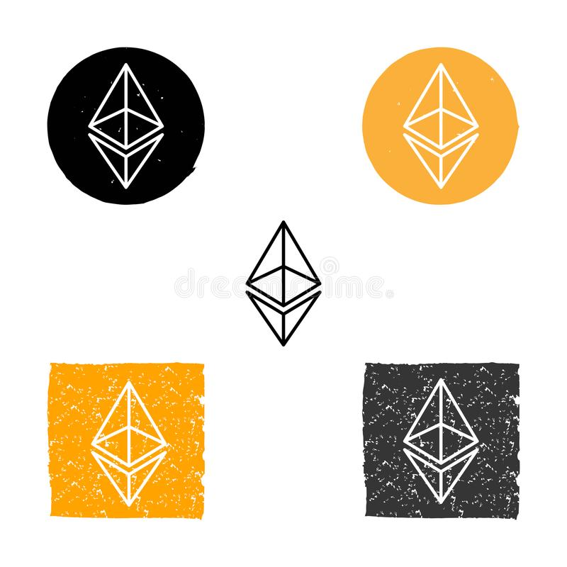 Ethereum - symbool van digitale crypto munt, reeks lineaire pictogrammen, grunge vector illustratie