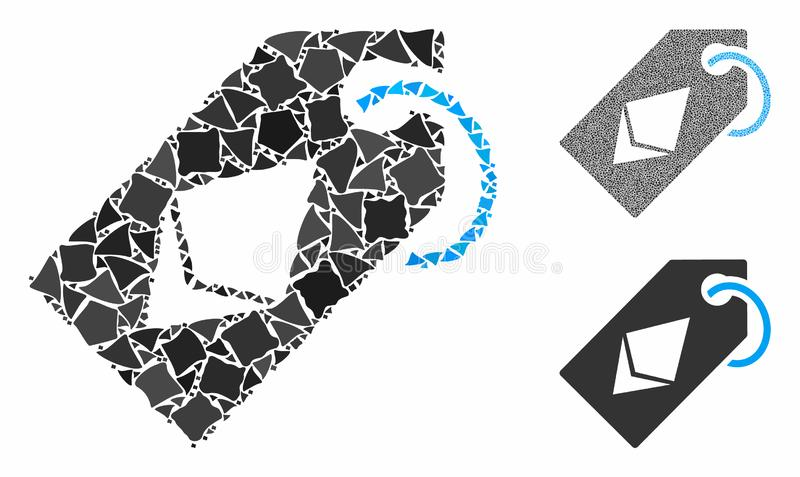 Ethereum tag Mosaic Icon of Unequal Pieces. Ethereum tag mosaic of tuberous elements in variable sizes and color tones, based on Ethereum tag icon. Vector bumpy vector illustration