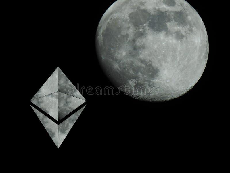 Ethereum till månen royaltyfri fotografi