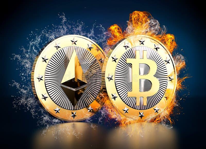 Ethereum und Bitcoin lizenzfreie abbildung