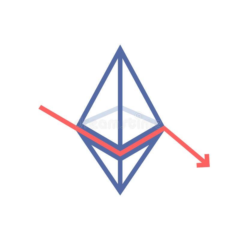 Ethereum value fallen like monetary loss stock illustration