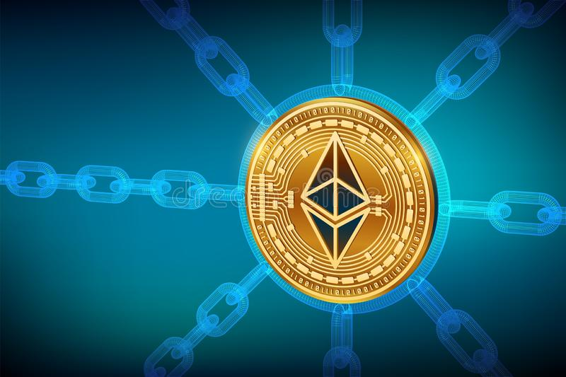 Ethereum Valuta cripto Catena di blocco moneta fisica isometrica di 3D Ethereum con la catena del wireframe Concetto di Blockchai royalty illustrazione gratis