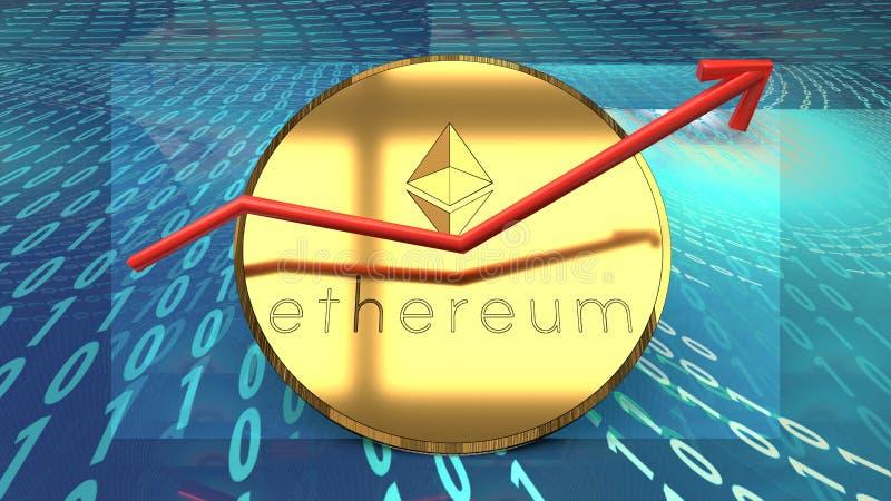 Ethereum-Währung, blockchain basierte Cyberdigitale Schlüsselwährung, bitcoin Alternative, wachsendes rotes Diagramm symbolisiert stock abbildung