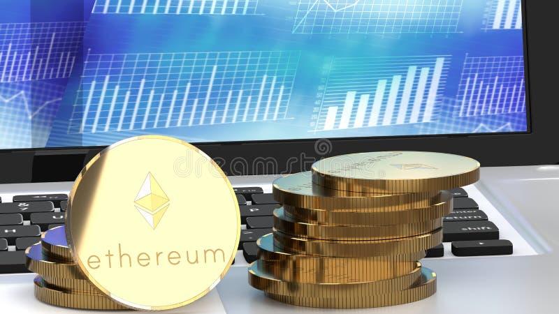 Ethereumcontant geld op een computer, grafieken op de achtergrond vector illustratie