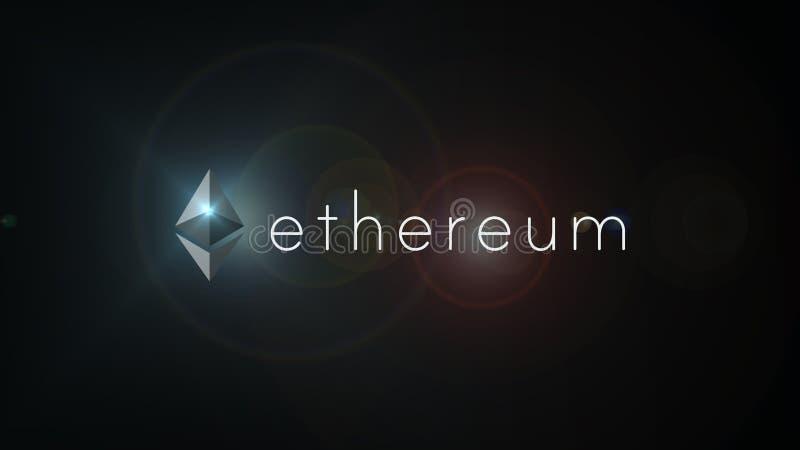 Ethereumcrypto de illustratie van het muntembleem Ethereum is een gedecentraliseerd platform dat slimme contracten in werking ste stock illustratie