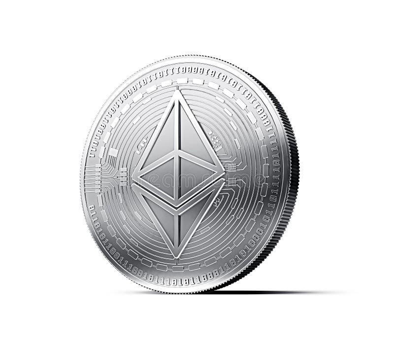 Ethereumeth muntstuk op witte achtergrond wordt geïsoleerd die het 3d teruggeven royalty-vrije illustratie
