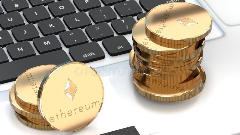 Ethereumgeld, bitcoin alternatief, cyber munt royalty-vrije illustratie