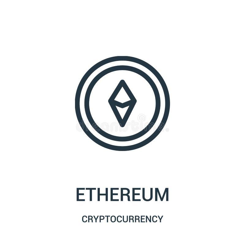 ethereumsymbolsvektor från cryptocurrencysamling Tunn linje illustration för vektor för ethereumöversiktssymbol royaltyfri illustrationer