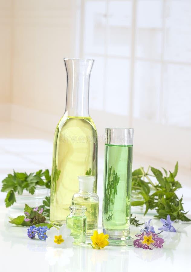 Etherische oliën voor aromatherapy behandeling met verse kruiden royalty-vrije stock afbeeldingen