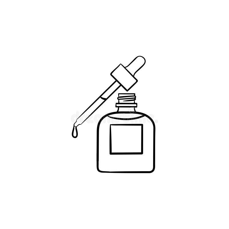 Etherische olie en pipethand getrokken schetspictogram royalty-vrije illustratie