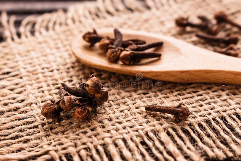 Etherische olie van kruidnagels op een houten rustieke achtergrond stock fotografie
