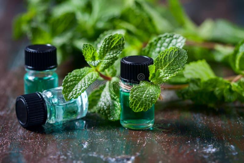 Etherische olie van pepermunt in kleine flessen, verse groene munt op houten achtergrond stock fotografie