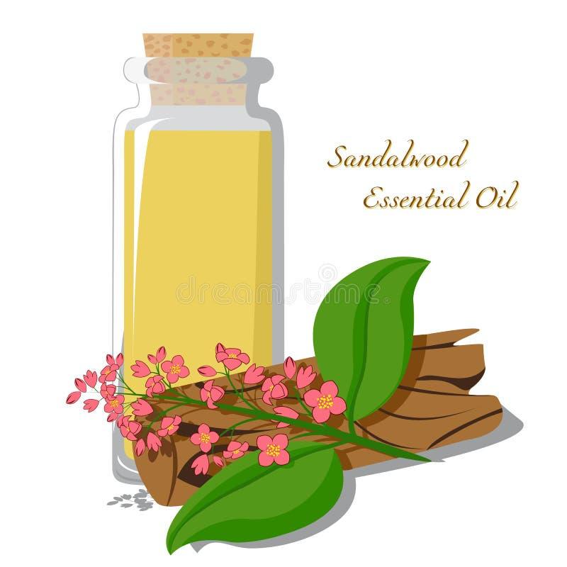 Etherische olie van sandelhout stock illustratie