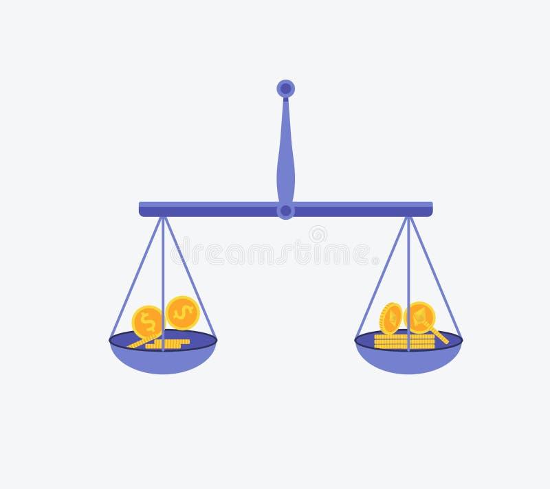 Etherium contro il concetto di vettore del dollaro con le scale dell'equilibrio Illustrazione piana di vettore di progettazione royalty illustrazione gratis