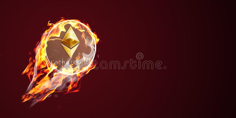 Etherium on fire stock images