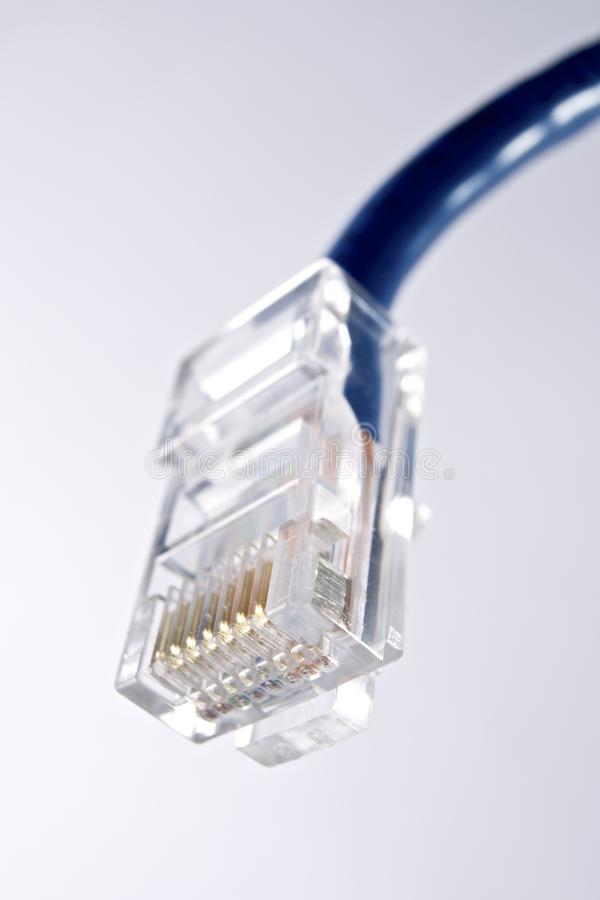 Ethernet. Blue ethernet cable computer and white background stock photos