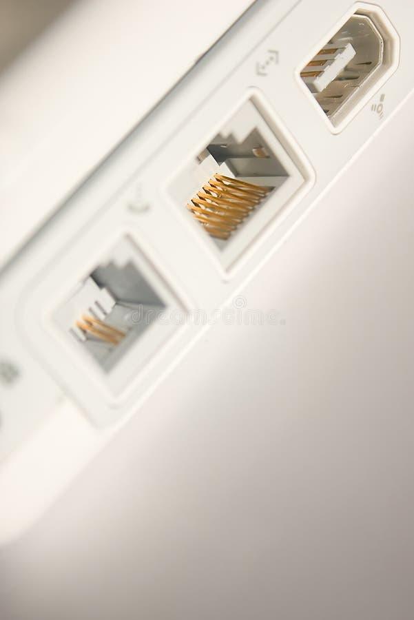 Ethernet en fireware havens stock afbeeldingen