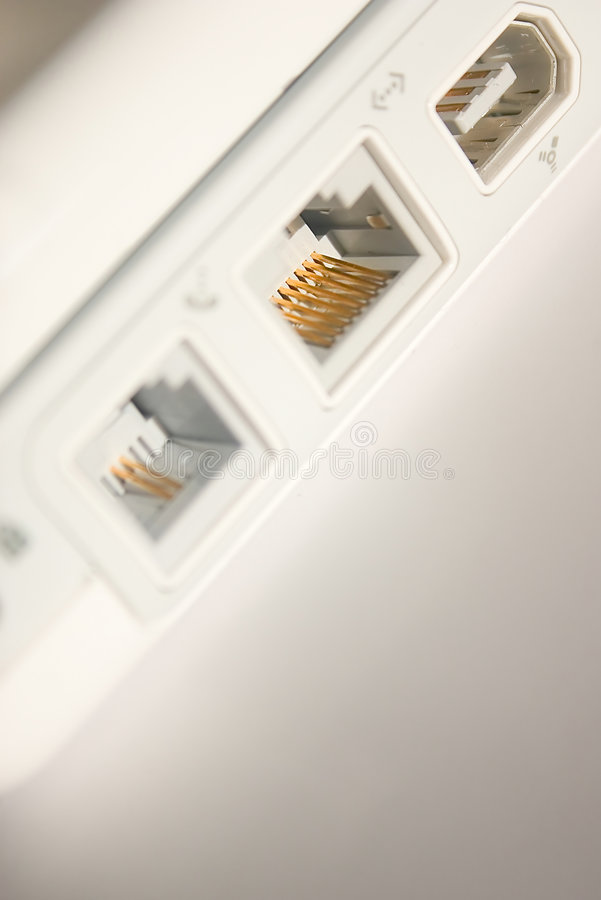 Ethernet and fireware ports stock images
