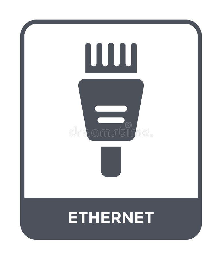 Ethernet-Ikone in der modischen Entwurfsart Ethernet-Ikone lokalisiert auf weißem Hintergrund einfache und moderne Ebene der Ethe lizenzfreie abbildung