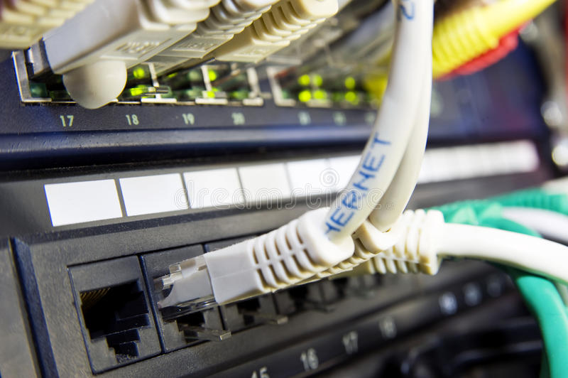 Ethernet switch. And patch panel in a professional server configuration