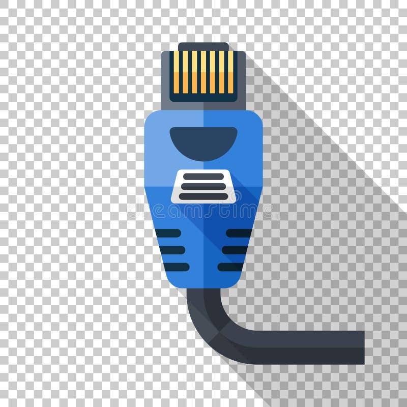 Ethernet-Verbindungsstückikone in der flachen Art auf transparentem Hintergrund stock abbildung