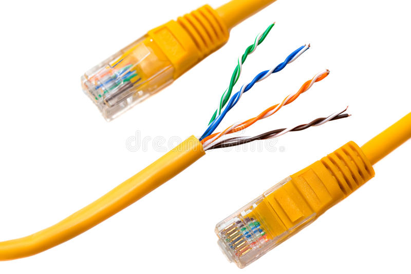 An ethernet wire cable and yellow patch-cord with twisted pair. Isolated stock photos
