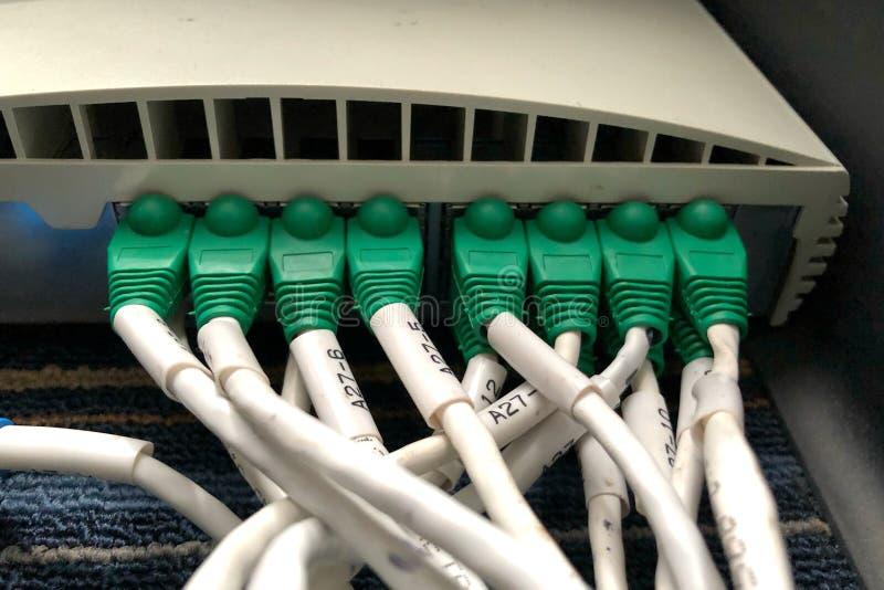Ethernetkabels en de hub van de Netwerkomschakeling stock foto