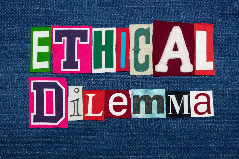 ETHICAL DILEMMA text word collage, colorful fabric on blue denim, ethics questions and situations. Horizontal aspect stock photos