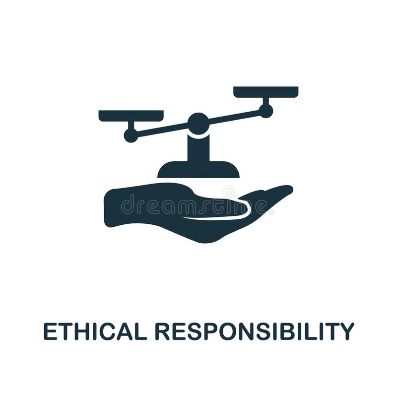Ethical Responsibility icon. Monochrome style design from business ethics icon collection. UI and UX. Pixel perfect. Ethical Responsibility icon. Monochrome vector illustration