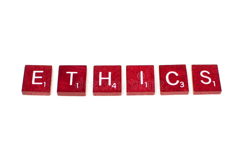 Ethics. The word ethics spelled out in scrabble letters stock photography