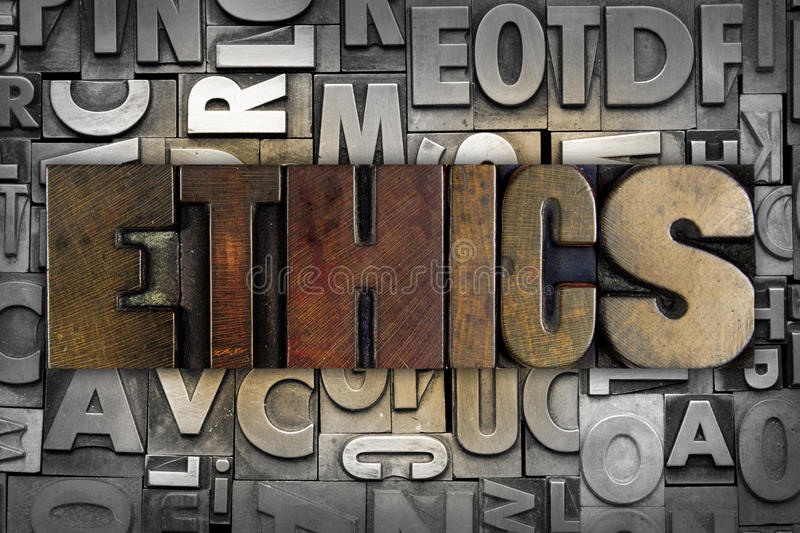 Ethics. The word ETHICS written in vintage letterpress type royalty free stock images