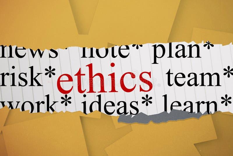 Ethics against digitally generated orange paper strewn. The word ethics against digitally generated orange paper strewn vector illustration