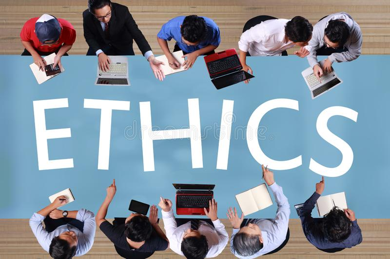 Ethics in Business Concept. Top View Businessmen Meeting stock photos