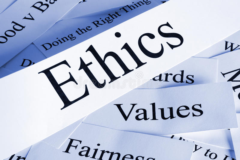 Ethics Concept. A conceptual look at ethics and related subjects stock photos