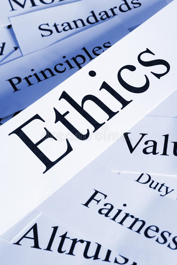 Ethics Concept in Words. Ethics Concept - a conceptual look at ethics values morals fairness altruism royalty free stock photo