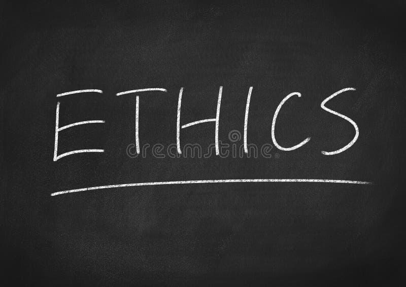 Ethics. Concept word on blackboard background stock image