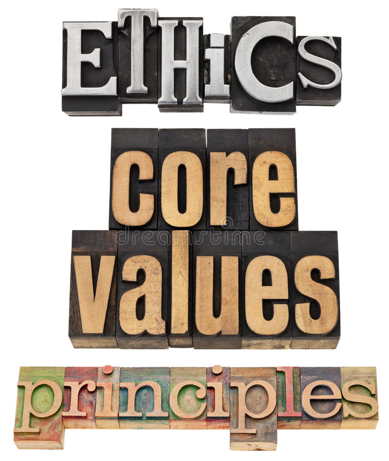 Ethics, core values, principles. A collage of isolated words in vintage grunge wood and metal type stock photo