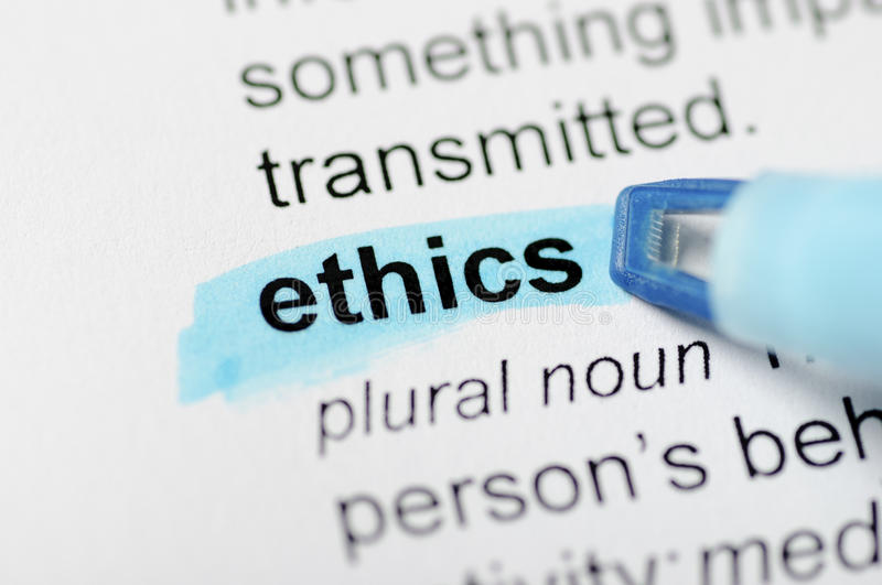 Ethics. Dictionary definition of ethics, highlighted with blue marker stock image