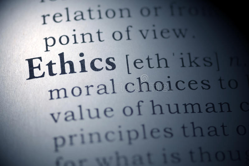 Ethics. Dictionary definition of the word Ethics royalty free stock photo