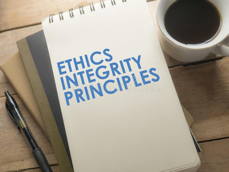 Ethics Integrity Principles, Business Words Quotes Concept. Ethics Integrity Principles,  Motivational business words quotes, wooden lettering typography concept royalty free stock images