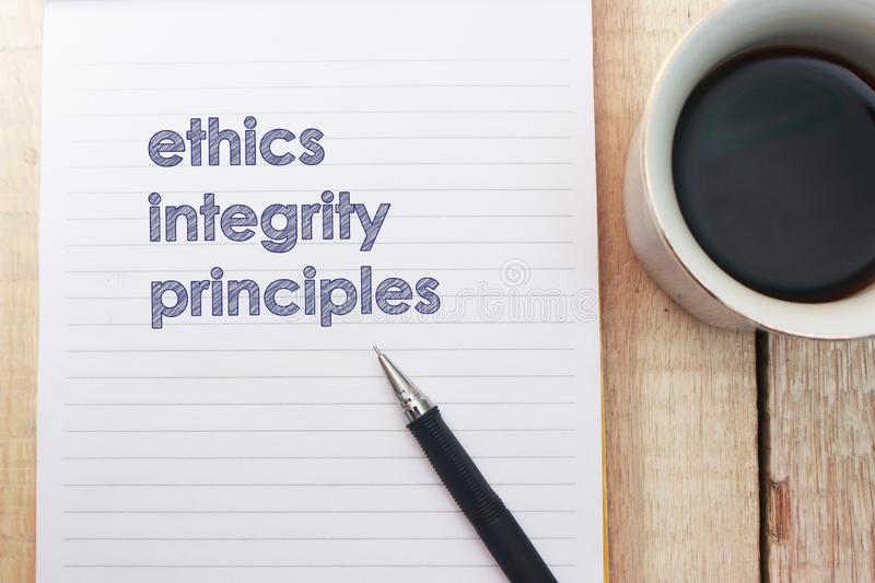Ethics Integrity Principles, Business Words Quotes Concept. Ethics Integrity Principles,  Motivational business words quotes, wooden lettering typography concept royalty free stock image