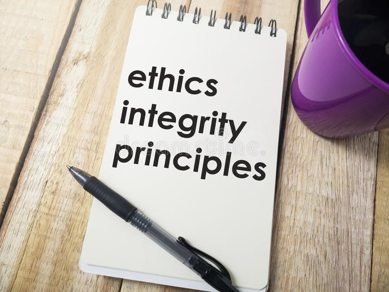 Ethics Integrity Principles, Business Words Quotes Concept. Ethics Integrity Principles,  Motivational business words quotes, wooden lettering typography concept stock photography