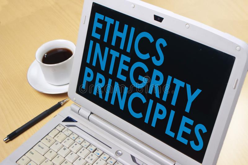 Ethics Integrity Principles, Business Words Quotes Concept. Ethics Integrity Principles,  Motivational business words quotes, wooden lettering typography concept royalty free stock photos