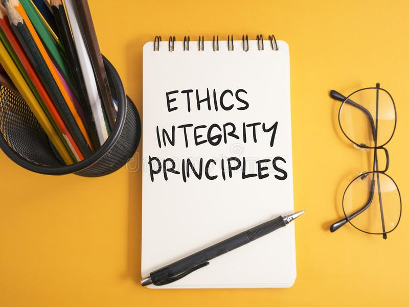 Ethics Integrity Principles, Business Words Quotes Concept. Ethics Integrity Principles,  Motivational business words quotes, wooden lettering typography concept royalty free stock photography